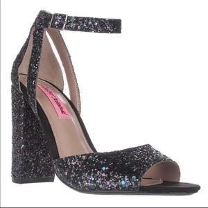 Betsey Johnson black glitter block heels